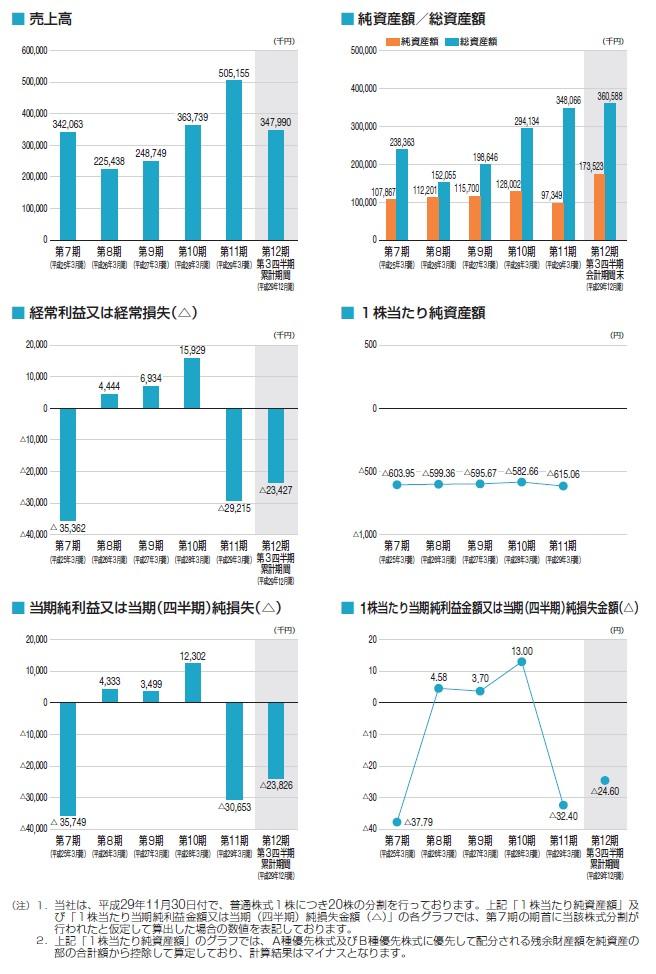 ビープラッツの経営指標グラフ